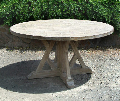 Awesome Cross Base Round Table In Gray Wash Finish