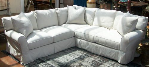 Sonoma Country Antiques Showroom Slipcovered Sectional Sofa