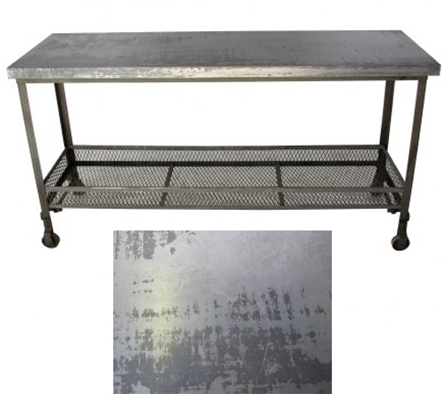 sonoma country antiques showroom metal top industrial console table on casters. Black Bedroom Furniture Sets. Home Design Ideas